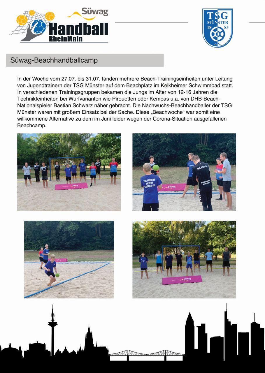 Süwag-Beachhandballcamp 2020 mit TSG Logo