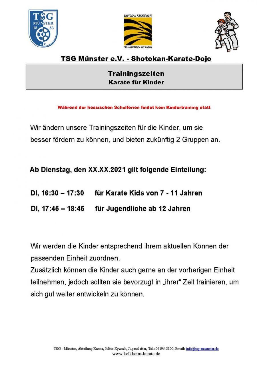 März 2021 Trainingszeiten Kinder