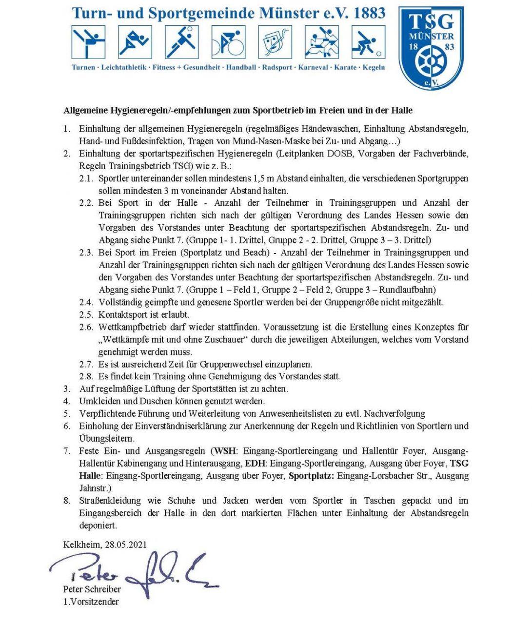 Allgemeine Hygienerichtlinien TSG 28052021